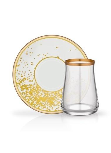 Glore Anjalıa Beyaz 6 Kişilik Çay Seti Renkli